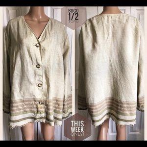 Liz Claiborne LINEN Jacket Native Aztec 20W Fringy